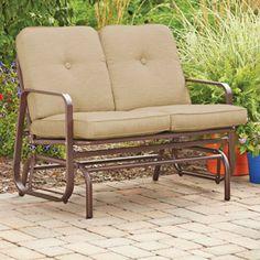 Mainstays Lawson Ridge Outdoor Glider Bench, Tan, Seats 2