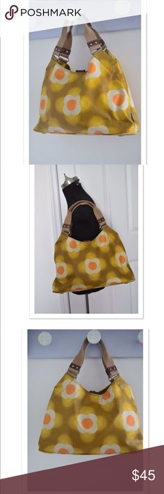 "Orla Keily hobo bag Orla Keily summer hobo bag Coated cotton Canvas. Leather trim. Measures 14.5"" 8.5"" shoulder drop 6"" Magnetic closure. Zip & side pockets. Wear to bag lining-pink lipstick (pic) Exterior in very clean and excellent condition! Orla Kiely Bags Hobos"