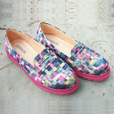 THARA by #thegoddessshoes. Multi-coloured abstract printed loafers featuring rubber sole. Handmade shoes from Indonesia
