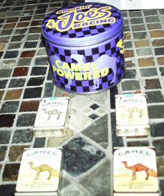 CAMEL Cigarettes Smokin' Joe's Racing TIN SET with Ashtray 4 camel lighters lot