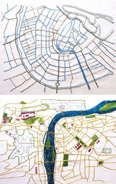 Embroidered maps . . . Amsterdam on top . . . Prague on bottom . . . fascinating