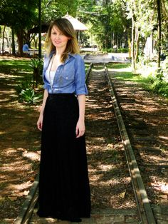 saia longa com camisa jeans - Pesquisa Google