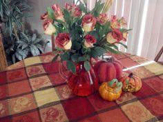 Burnt Orange & cream Roses
