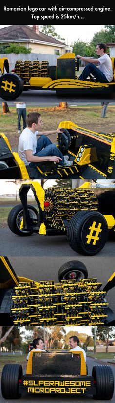 20-year-old Raul Oaida, a self-taught technology genius, has built the world's first life-size LEGO car using 500,000 pieces. It's not just a model, you can actually drive it. And the fuel costs nothing, because the car runs on air!