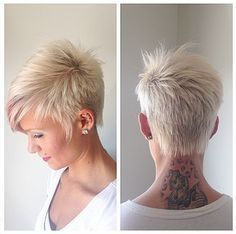 Short hairstyle with side swept bangs for summer