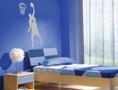 Blue Boys Bedroom Basketball Wall Murals - Architecture and Interior Design  Is this better? Josie?