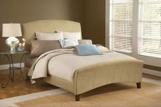 Edgerton Queen Bed Set W/Rails 1728BQR, Item No. : 73961. $451. Hillsdale Furniture. Gently arched headboard and footboard, Sleigh silhouette Beige tweed upholstery . Headboard is 55' tall, footboard is 26'. Queen Bed Set w/Rails. (theclassyhome.com) maybe have it recovered.
