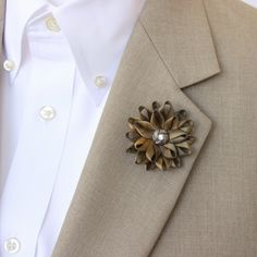 Mens Lapel Flower Mens Flower Lapel Pin Dark Gold Boutonniere Gifts for Men Lapel Flower for Men Men's Lapel Pin Gold Lapel Flower Pin