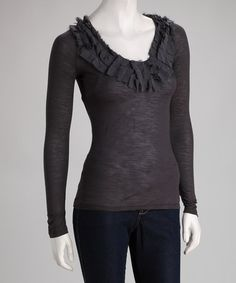 Take a look at this Dark Shadow Detailed V-Neck Tee by Down East Basics on #zulily today!