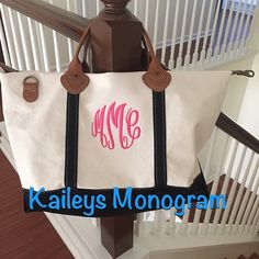 Monogramme voyage sac toile sac de voyage par KaileysMonogramShop