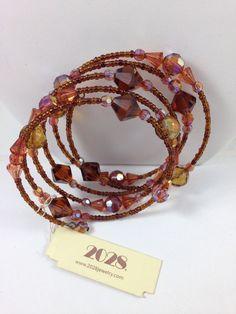 1928 Jewelry Co Bracelet Bronze Swarovski crystals & wire beading New #1928JewelryCo #Beaded