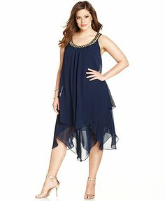 SL Fashions Plus Size Sleeveless Tiered Shift - Plus Size Dresses - Plus Sizes - Macy's