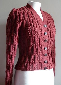a 1940's jumper - cardigan hand knitted from an original pattern. By style1940s on flickr.