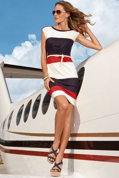 The Color-Block Dress! Ok, so she's not an actual 'fly girl' but, she could be! Love the dress! Awesome ad! Boston Proper!