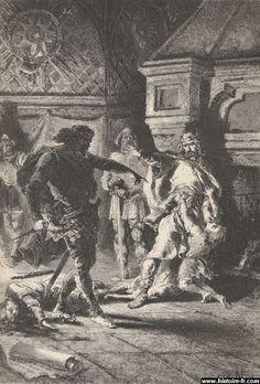 L'assassinat des deux fils de Clodomir. - CLOTAIRE 1°. 2)BIOGRAPHIE. 2.4: LES ANNEES 530 / 2.4.3: LE PARTAGE DU ROYAUME D'ORLEANS (531):, 3: Le risque de la tonte pouvait engendrer une guerre civile, aussi il était de son devoir de laisser s'appliquer la tanistry. Ecoeurée, Clotilde répondit que s'ils ne devaient pas régner, alors elle préférait les voir morts que tondus.