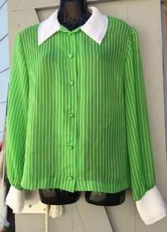 Super Cool Vintage Green & White Striped Sheer Blouse Sml in Clothing, Shoes, Accessories, Women's Clothing, Tops Sheer Blouse, Vintage Green, Shirt Dress, Clothes For Women, Cool Stuff, Mens Tops, Shirts, Ebay, Fashion