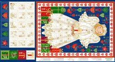 METRÁŽ | Vánoční panely | MKWR/Adventní panel - BAVLNA S METALICKÝM POTISKEM - Anděl velký | U Melluzínky- Látky plné radosti