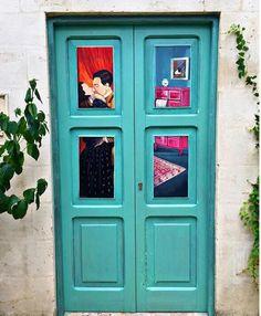 #door #kiss #love #home #blue #art