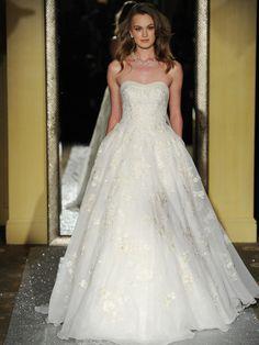 Oleg Cassini strapless wedding dress ballgown
