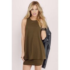 Tobi Making Moves Ribbed Shift Dress ($48) ❤ liked on Polyvore featuring dresses, olive, brown shift dress, tobi dresses, shift dress, olive dress and army green dress