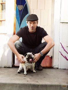 Hugh Laurie and yet another lovely pug. Pugs get all the best men. Amor Pug, Hugh Laurie, Celebrity Dogs, Pugs And Kisses, Cute Pugs, Pug Love, Mans Best Friend, Best Dogs, Cute Animals