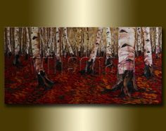 Birch Tree Forest Seasons Landscape Painting Oil on Canvas Textured Palette Knife Contemporary Original Modern Art 20X40 by Willson Lau