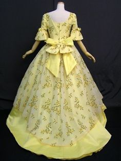 .yellow historical dress floral date unknown