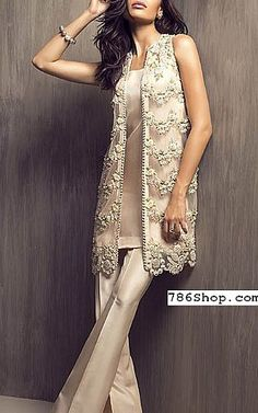 Off-white Chiffon Suit | Buy Pakistani Fashion Dresses and Clothing Online in USA, UK