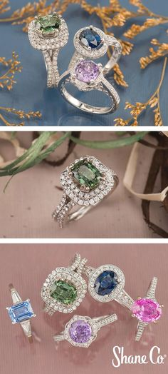 Halo engagment ring, double halo engagement ring, pave-engagement ring, three-stone engagement ring, colorful center stones.  Very Beautiful rings. And super sparkle. Love this. SLVH ♥♥♥♥