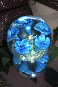 Blue Floral Paperweight