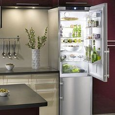 I saw this tall slimline refrigerator on the show Income Property. Fits in tiny kitchens like mine, and uses that wasted space above the fridge thats normally a dust collector or an unreachable mini-cabinet. Slimline Fridge Freezer, Little Houses, Tiny Houses, Small Basement Kitchen, Kitchen Reno, Kitchen Layouts, Kitchen Tips, New Kitchen, Kitchen Cabinets