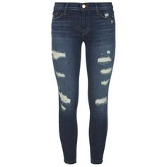 J Brand Distressed Skinny Cropped Jeans ($62) ❤ liked on Polyvore featuring jeans, pants, bottoms, ripped jeans, j brand jeans, ripped skinny jeans, destructed skinny jeans and destroyed jeans