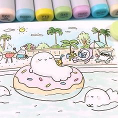 😊 Spooky spends the long weekend hanging out with his family. Which McCute are you in this picture? 🤔✨👻💕 (Spooky is the one in the Donut floatie 😉🍩) Copic Marker Drawings, Marker Art, Doodle Drawings, Cute Easy Drawings, Cute Kawaii Drawings, Kawaii Art, Kawaii Doodles, Cute Doodles, Ghost Drawing