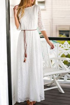 Romantic Solid Color 3/4 Sleeve Hollow Out Maxi Dress For Women Maxi Dresses | RoseGal.com Mobile