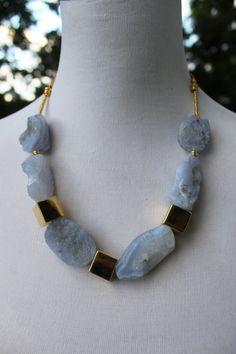 Blue Lace Agate Necklace by LuxuryatTRIZIAshop on Etsy, $156.00
