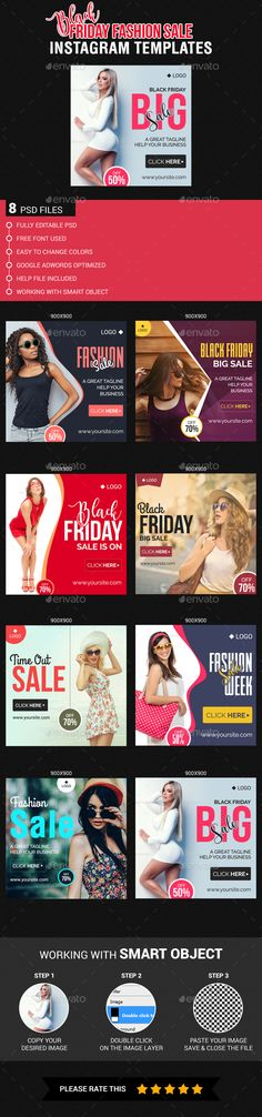 Black Friday Fashion Sale Instagram Templates