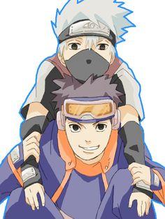 Hatake Kakashi and Uchiha Obito Naruto Kakashi, Kakashi And Obito, Naruto Anime, Naruto Cute, Naruto Shippuden Sasuke, Madara Uchiha, Shikamaru, Boruto, Anime Guys