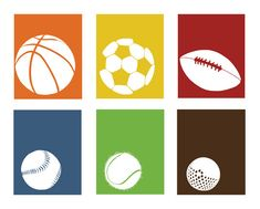 Sports Room Decor, sports nursery set of 3, 13 x 19 Art Prints - available in different sizes and colors on Etsy, $120.00