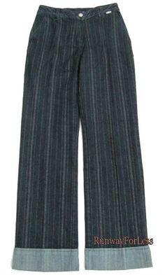 New $370 ST JOHN SPORT by Marie Gray Womens Misses Sz 2 Lurex Gold Blue Jeans #StJohn #StraightLeg #Marie #Gray #Jeans #Denim #Sale #Discount #Clerance