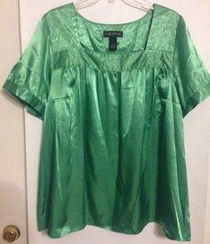 Lane Bryant Sz 22/24 Shiny Short Sleeve Green Blouse Satin Square Neck Polyester #LaneBryant #Blouse #Career