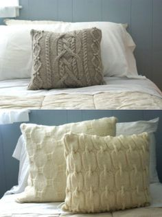 Old sweaters. New pillows. I need to take myself to Goodwill and find some sweaters.