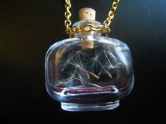 """""""Captured Wish"""" necklace! A tiny glass vial, the size of a quarter, filled with real dandelion seeds. Magic Bottles, Glass Vials, Brass Chain, Diy Jewelry, Dandelion Seeds, Perfume Bottles, Fun Stuff, Stuff To Buy"""