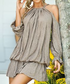 Desert Tan Cutout Blouson Dress by AM PM #zulily #zulilyfinds