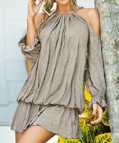 Look at this #zulilyfind! Dessert Tan Cutout Blouson Dress #zulilyfinds