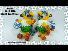 Rainbow Loom 3D FULECO 2014 (FIFA World Cup mascot). Designed and loomed by Kate Schultz of Izzalicious Designs. Click photo for YouTube tutorial. 06/20/14.