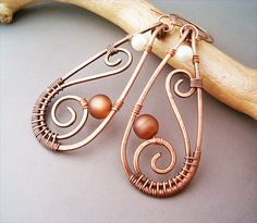 Wire Wrapped Earrings Copper  and Brown Resin- Handmade Copper Earrings - wire wrapped Earrings handmade