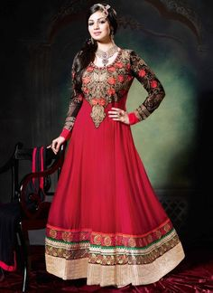Maroon Georgette Party Wear Anarkali Suits
