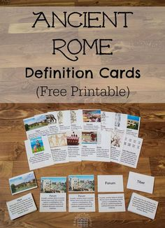 Ancient Rome Definition Cards - Free, printable, Montessori-inspired cards for learning vocabulary relevant to Ancient Rome. Features the terms Tiber, Romulus & Remus, plebian, patrician, aqueduct, centurion, gladiators, Testudo formation, senate, forum, tunic, toga, villa, fasces, barbarians, and Roman numerals