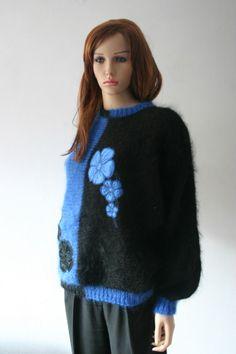Vintage 80s Jumper Fluffy Blue Black Monochrome Floral Embellished