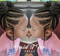 Wonderful Photos he cutest💕 Love these double knot feed-in buns by 😍 voice. Style Are you bored by the old hairstyles of the ponytail? If so, then try using Common braids , specifica Little Girl Braid Styles, Cute Little Girl Hairstyles, Black Kids Hairstyles, Kid Braid Styles, Little Girl Braids, Natural Hairstyles For Kids, Baby Girl Hairstyles, Braids For Kids, Girls Braids